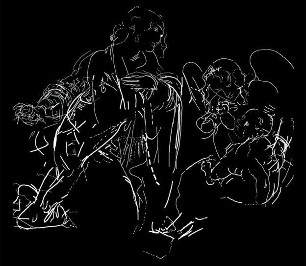 O desenho sob a Virgem das Rochas
