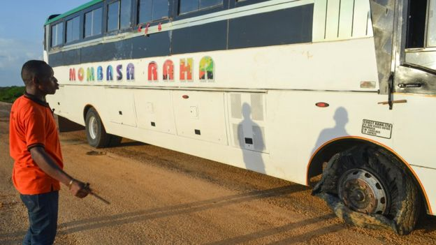 The Mombasa Raha bus that was attacked by armed assailants killing three people and injured two others in Nyongoro area of Lamu County, Kenya January 2, 2020