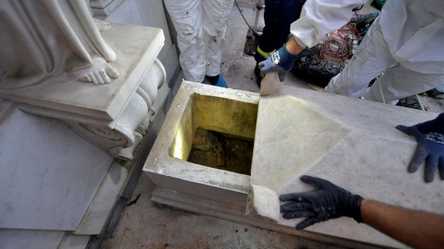 A tomb is opened in a cemetery on the Vatican's grounds, 11 July 2019