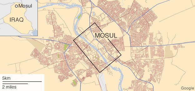 Map locating Mosul