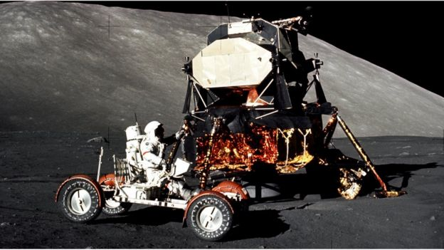 Apollo 17 buggy and lander