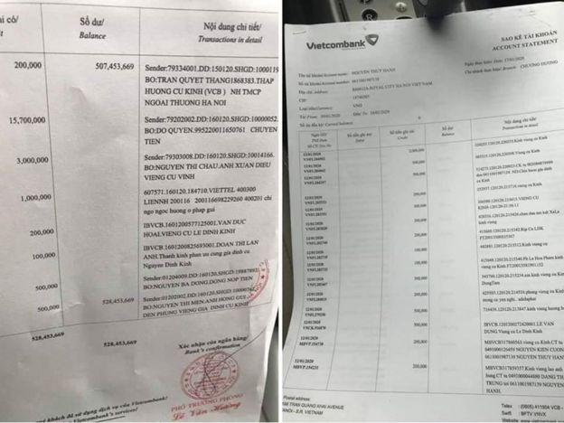 Bản sao kê tài khoản quyên tiền phúng điếu cho cụ Quỳnh tại VCB