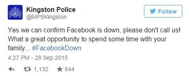 "Kingston Police tweet ""yes we can confirm Facebook is down"""