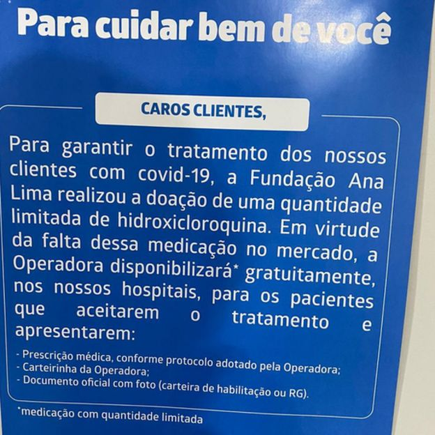 Folheto com mensagem da Hapvida divulgando a hidroxicloroquina distribuída gratuitamente na empresa