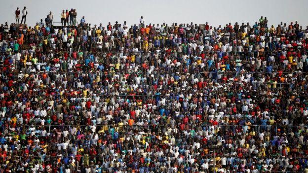 Mourners at Rufaro Stadium
