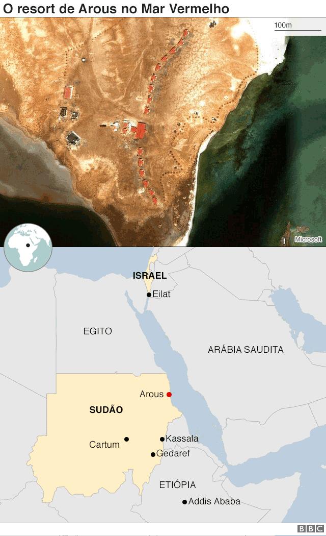 Gráfico sobre o resort de Arous no Mar Vermelho