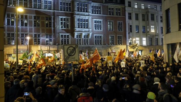 Hundreds of demonstrators protest outside the Free Democratic Party (FDP) headquarters in Berlin,