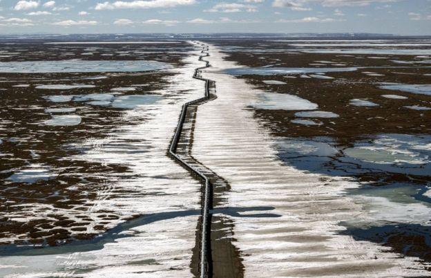 Oil pipeline outside Prudhoe Bay, Alaska