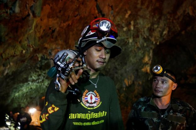 Teams of rescuers in the cave of Thailand.