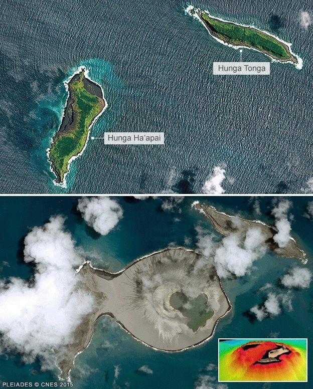 Sito nel Pacifico, dove la nuova isola è emersa prima e dopo l'eruzione.  (Foto: Pleiades CNES)