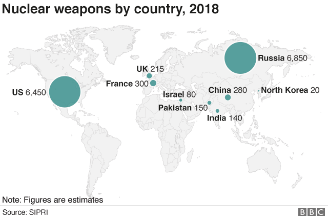 The Weapons Making Nuclear War More Likely Bbc News - Nuclear-war-us-map