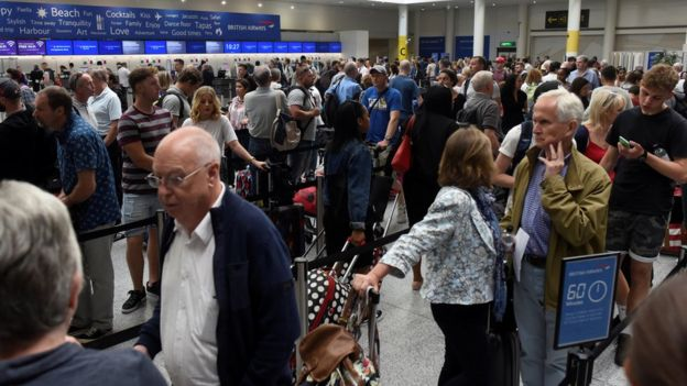 Gatwick Airport British Airways check-in line
