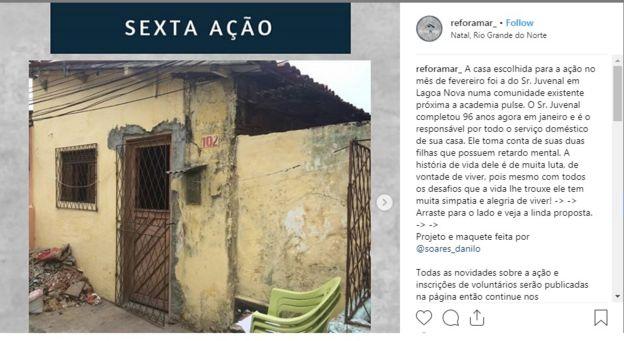 Imagem mostra post no Instagram com casa reformada por projeto voluntário