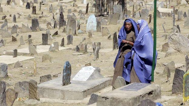 Mulheres em um cemitério da Kabul