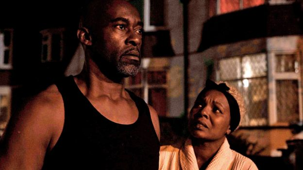 Patrick Robinson as Anthony Bryan and Nadine Marshall as wife Janet in Sitting In Limbo