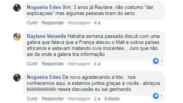 Fragmento de los comentarios que compartieron Edes y Raylane en Facebook.