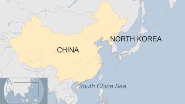 A map showing China, North Korea and the South China Sea