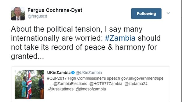 Tweet from UK High Commissioner to Zambia Fergus Cochrane-Dyet