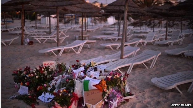 Tunisian beach filled with tributes