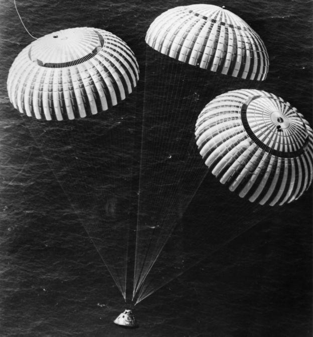 Charles Duke com os colegas John Young e Thomas Mattingly aterrissando de paraquedas