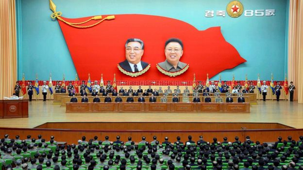 A national meeting at the People's Palace of Culture in Pyongyang to celebrate the 85th anniversary of the founding of the military