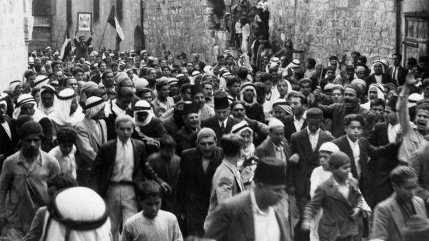 فلسطينيون يتظاهرون في القدس العتيقة رفضا لهجرة اليهود إلى فلسطين