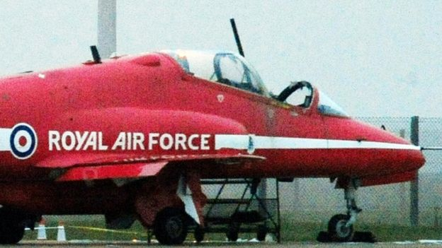 Flt Lt Sean Cunningham's Hawk on the ground at RAF Scampton