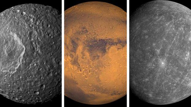 Luna, Marte y Mercurio