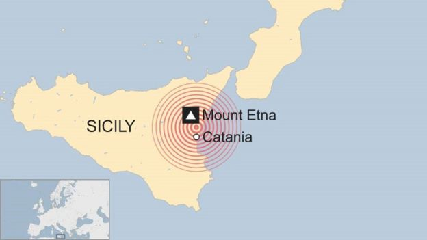 Map showing location of Sicily earthquake - 26 December 2018