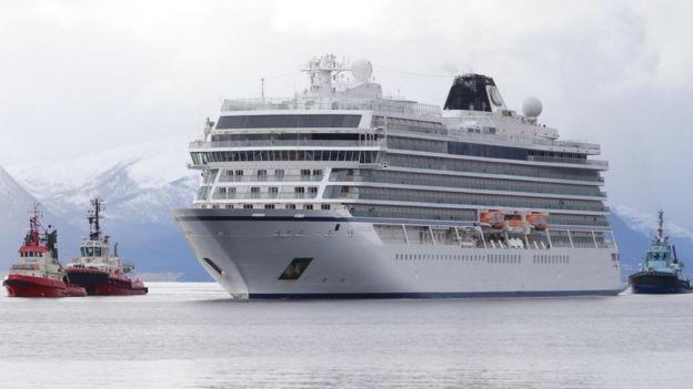 The cruise ship Viking Sky arrives at Molde port in Norway, 24 March 2019