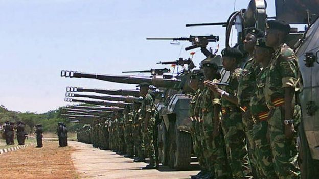 A grand parade of the Zimbabwe defence forces in Harare to mark the withdrawal of the country's troops from a four-year tour of duty from the Democratic Republic of Congo (30 November 2002)