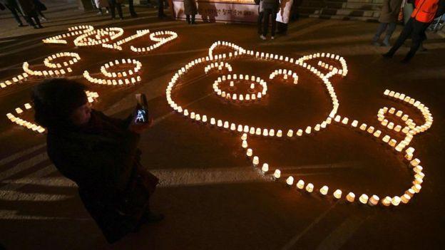کره جنوبی: طرحی از خوک که نماد سال چینی است در سئول