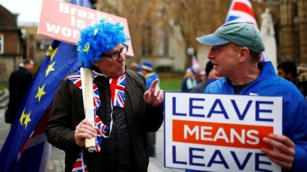 Pro- and anti-Brexit supporters