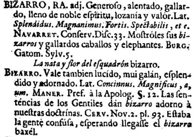 Bizarro en el diccionario de 1726 del Nuevo tesoro lexicográfico de la lengua española (NTLLE)
