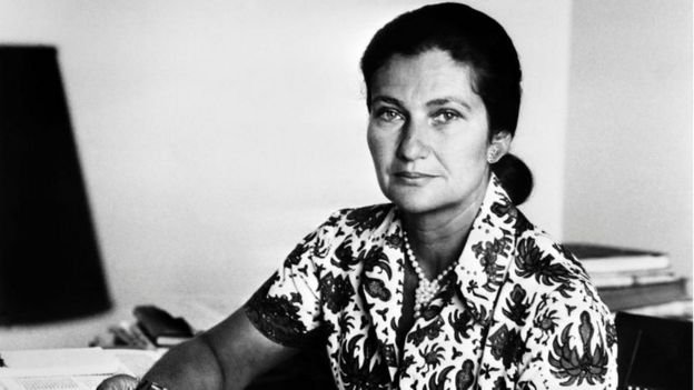 This file photo taken in 1974 shows then French Health Minister Simone Veil posing in Paris.