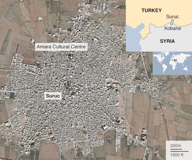 Graphic showing location of Amara Cultural Centre in Suruc, Turkey