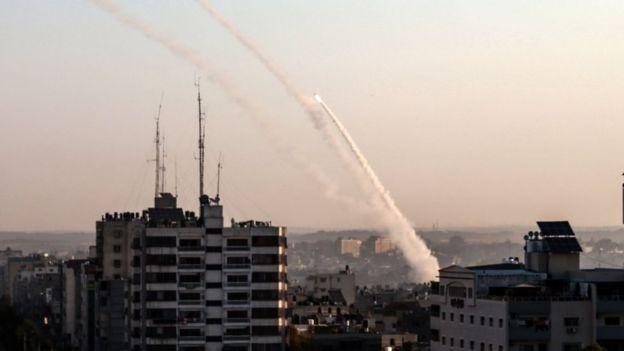 Palestinian militants fire rockets towards Israel from Gaza City on 12 November 2019
