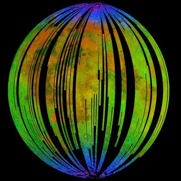 Imagem dos espectros minerais da superfície lunar