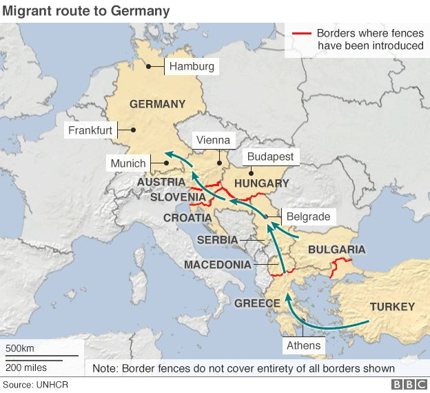 Migrant route to Germany - map