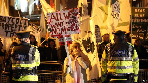 Anti-austerity protesters outside the Irish parliament in Dublin in December 2012