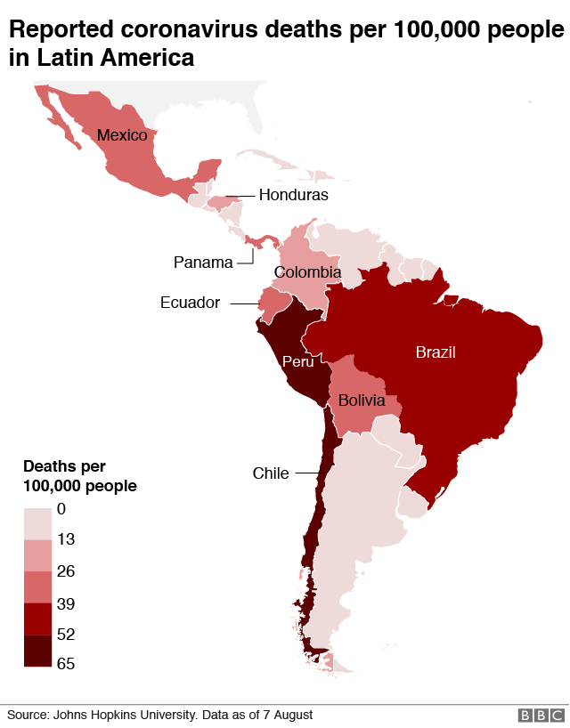 Deaths per 100,000 in Latin America
