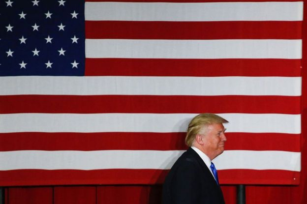Republican presidential candidate Donald Trump arrives at a fundraising event in Lawrenceville, New Jersey on 19 May 2016