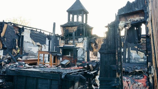 The Mt Pleasant Baptist Church in Opelousas, Louisiana after it was burnt down