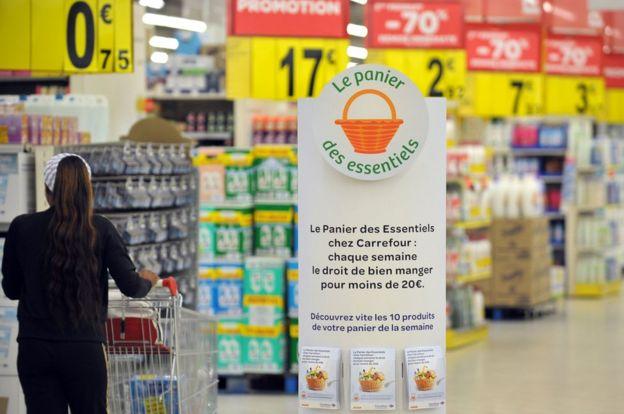 Carrefour supermarket aisle - file pic