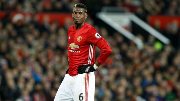 Manchester United midfielder Paul Pogba pictured in January 2017