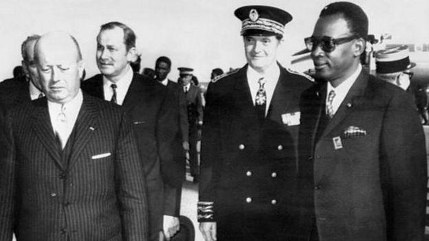 Jacques Foccart, ancien secrétaire général de l'Elysée, figure de la Françafrique en compagnie du Maréchal Mobutu