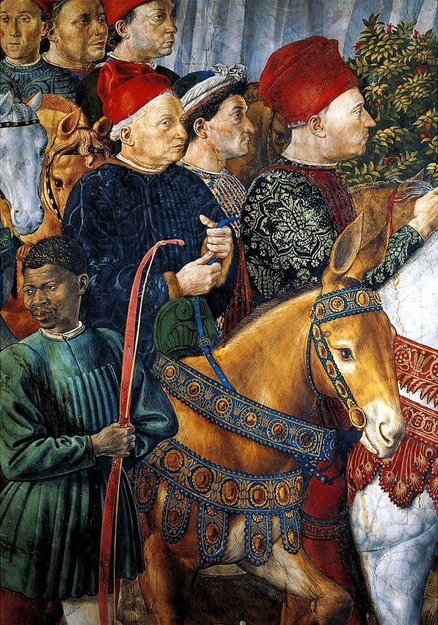 Cosme el viejo en su burro pintado por Benozzo Gozzoli (ca. 1421-1497).
