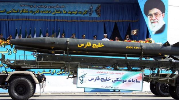 A military truck carries the long-range 'Khalij Fars (Persian Gulf)', a supersonic, anti-ship ballistic missile during an annual military parade which marks Iran's eight-year war with Iraq, in the capital Tehran