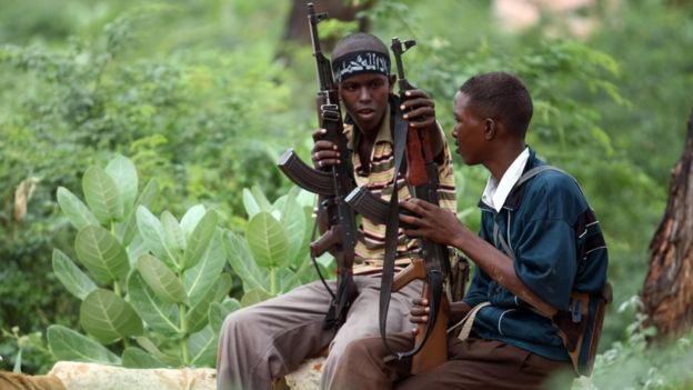 Young militants pictured 2009 in Somalia