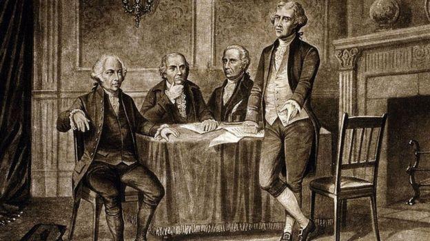 Retrato de John Adams, Robert Morris, Alexander Hamilton y Thomas Jefferson.